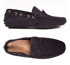 KITON NAPOLI Navy Blue Suede Loafers Driving Car Shoes Moccasins NEW