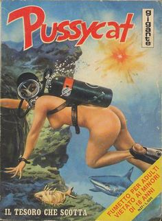 An adult Italian comic series about a female criminal. 113 issues were released between 1975 and Pulp Fiction 2, Girl In Water, Comic Styles, Vintage Comics, Comic Books Art, Erotic Art, Covergirl, Underwater, Scuba Diving