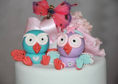 Fondant cake topper Hoot and Hootabelle example