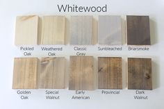 How 10 Different Stains Look on Different Pieces of Wood - Within the Grove Stain can easily change color depending on the wood you're using. We tested 10 different stains, light to dark, on 4 different pieces of wood to show you. Stain On Pine, Oak Stain, Grey Stain, Walnut Stain, White Wood Stain, Gray Wood Stains, Walnut Wood, Weathered Wood Stain, Driftwood Stain