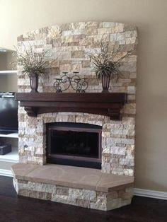 34 Beautiful Stone Fireplaces That Rock. Color de empedrado para exterior.