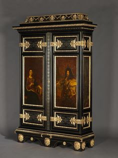 An Important and Very Fine Antique Napoleon III Gilt-Bronze Mounted, Cut Brass, Pewter and Ebonised Boulle Marquetry Armoire, after the model by André-Charles Boulle,  French, Circa 1880.