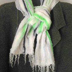 Scarf felted wool and silk. Somewhere the winter ends, somewhere in the winter begins