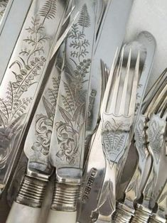 Gorgeous flatware / engraved sterling silver cutlery
