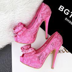 12.5cm sexy cutout lace thick heels sandal high heel platform peep toe bowtie pink sandals sandalias de mujer shoes women's alishoppbrasil