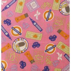 Tissu 100% coton motif décor anglais sur fond rose vendu en coupon de 3 mètres
