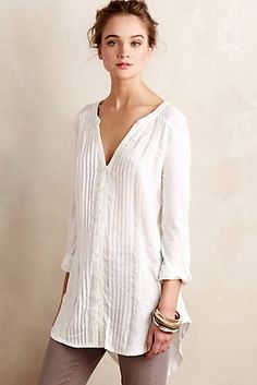 White, loose-fitting tunic, would love linen or light fabric for summer.
