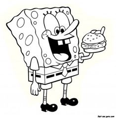 printable cartoon spongebob eating hamburger coloring page printable coloring pages for kids