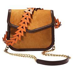 Loewe V-Shoulder Bag ($2,690) ❤ liked on Polyvore featuring bags, handbags, shoulder bags, brown, geometric purse, chain strap purse, brown handbags, loewe purse and suede handbags