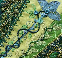 Bead, button, embroidery. - Inspiration for my butterfly quilt. -Klasko