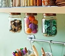 Craft Storage Idea - Mason jars with and baby food jars for misc craft storage. Jar Storage, Craft Storage, Storage Ideas, Creative Storage, Storage Solutions, Cabinet Storage, Magnetic Storage, Storage Shelves, Food Storage