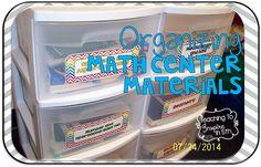 Blog Post about how to organize math center materials effectively for upper grade teachers.