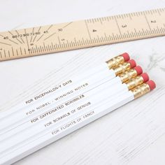 Quirky Set of WHITE Pencils with Scientific Purposes. Stationery Christmas Stocking Filler Gift For Him Her Thank You Teacher Back to School by NewtonAndTheApple on Etsy https://www.etsy.com/listing/202987540/quirky-set-of-white-pencils-with