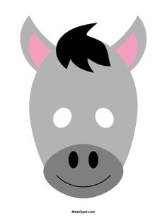 Donkey mask templates including a coloring page version of the mask. Free printable PDF at http://maskspot.com/download/donkey-mask/