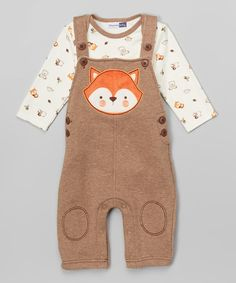 Look at this Vitamins Baby Brown Fox Bodysuit & Overalls - Infant on #zulily today!