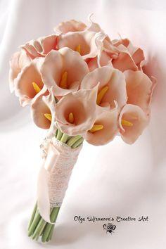 Alternative Wedding bouquet Keepsake Bridal bouquet Calla Lilly Bouquet Peach Calla Lilly Bridal bouquet Elegant bouquet Toss bouquet