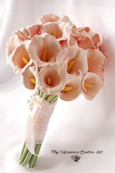 Alternative Wedding bouquet Keepsake Bridal bouquet Calla Lilly Bouquet Peach Calla Lilly Bridal bouquet Elegant bouquet Toss bouquet