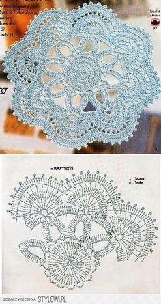 Watch The Video Splendid Crochet a Puff Flower Ideas. Wonderful Crochet a Puff Flower Ideas. Crochet Doily Diagram, Crochet Mandala Pattern, Crochet Circles, Crochet Flower Patterns, Crochet Chart, Crochet Squares, Thread Crochet, Crochet Designs, Crochet Flowers