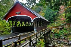 Covered bridge at Franconia Notch. LOVE all the covered bridges in NH. Hope to see them soon!