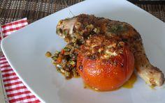 Hühnerbeine mit gefüllten Tomaten #lecker #yummy