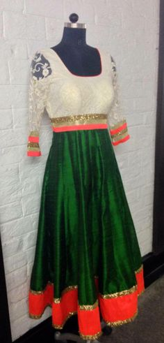 White, orange and green anarkali dress. Indian Suits, Indian Attire, Indian Dresses, Indian Wear, Indian Anarkali, Anarkali Dress, Ethinic Wear, Desi Clothes, Indian Clothes