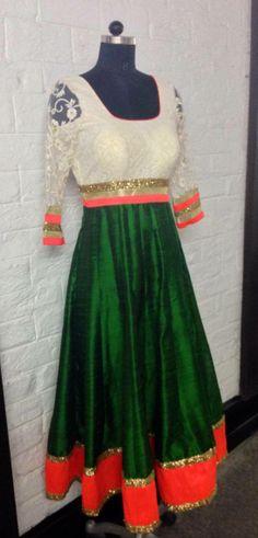 White, orange and green anarkali dress. Indian Suits, Indian Attire, Indian Dresses, Indian Wear, Indian Anarkali, Anarkali Dress, Ethinic Wear, Indian Colours, Desi Clothes