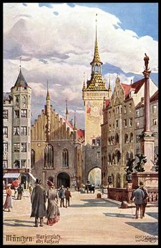 Marienplatz and old City Hall (postcard around 1910)