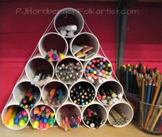 PJ Hornberger PVC pipe DIY  for pens, markers, highlighters  @JoAnna Coles a