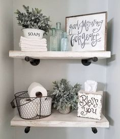 50 Awesome Industrial Farmhouse Design Ideas to Complement Y.- 50 Awesome Industrial Farmhouse Design Ideas to Complement Your Home In 2019 Badezimmer - Downstairs Bathroom, Master Bathroom, Bathroom Shelf Decor, Decorating Bathroom Shelves, Shelving In Bathroom, Farm House Bathroom Decor, Bathroom Shelves Over Toilet, Farmhouse Decor Bathroom, Floating Shelves Bathroom