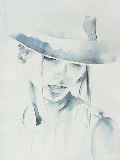 Woman in hat watercolor painting original от JuniperPaintings #watercolorarts