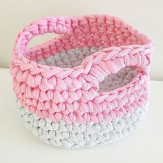 Pink and grey are clearly meant to be  #crochet #crochetbasket #crochetaddict #yarn #crochetlove #crochetersofinstagram #crocheting #pink #grey #trapart #trapillo #tshirtyarn #teeyarn #perthcreatives #perthcreates #locallymade #handmadeinwa by freckleandstitch