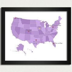 Love this!!! I want one!! Personalized Map / United States Map in Purple  by happylandings, $16.00