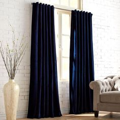 Sheridan Velvet Navy Curtain <br> Soft to the touch and easy on the eyes, our velvety Sheridan curtain is woven from pure cotton, then lined in polyester for extra heft. Plus, you have the choice of hanging it two ways—rod pocket Velvet Curtains Bedroom, Blue Curtains Living Room, My Living Room, Drapes Curtains, Indigo Curtains, Office Curtains, Modern Curtains, Window Drapes, Window Seats