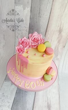 60th birthday cake with sparkle roses. by Aurelia's Cake