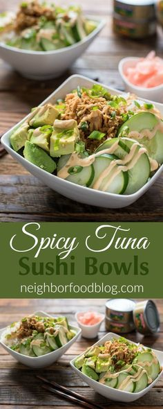 This Spicy Tuna Sushi Bowl Recipe is a great quick and healthy dinner for busy weeknights.