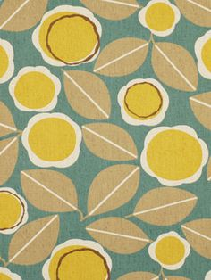 Teal Yellow Fabric - Abstract Floral Upholstery Yardage - Contemporary Floral Curtain Material - Furnishing Fabric - Floral Home Decor Teal