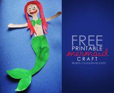 Printable Mermaid Craft from LearnCreateLove.com