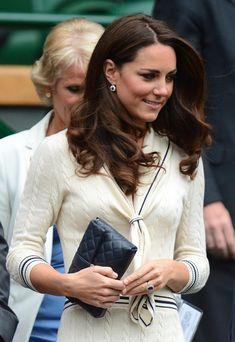 Wimbledon: Kate wears Alexander McQueen. #KateMiddleton #AlexanderMcQueen #Navy #Clutch #Wimbledon