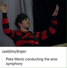Imagine an emo orchestra that plays solely emo music, but instrumental. << I would pay good money to see that omg << same here dude Fall Out Boy, Emo Bands, Music Bands, Save Rock And Roll, Soul Punk, Black Parade, Pete Wentz, Band Memes, Panic! At The Disco