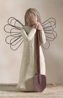 Demdaco Willow Tree Angel of The Garden Figurine. I bought this for my grandmother last Christmas. Angel Of The Morning, Willow Tree Figures, Garden Spade, Willow Tree Angels, Garden Figurines, Wood Pumpkins, Precious Moments Figurines, Tree Sculpture, Beautiful Dolls