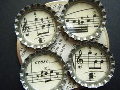 Vintage Music Song Musical Bottlecap Bottle Cap Magnets Recycled Upcycled Repurposed Paper Materials Musician Singer Notes Bottlecaps Caps
