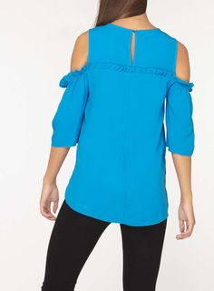 Womens **Tall Turquoise Cold Shoulder Top- Blue