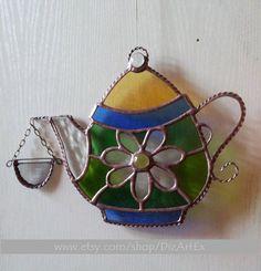 Stained Glass Daisy Teapot. Vitrage Teapot. Teapot by Jelena DizArtEx #stained_glass #teapot #handmade