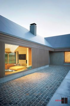 Gallery of House V at R / BURO II & ARCHI+I – 2 Floor-to-ceiling windows with a view of the living room Residential Architecture, Contemporary Architecture, Architecture Design, Vernacular Architecture, Modern Barn, Modern Farmhouse, Design Exterior, Exterior Colors, House Extensions