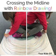 Crossing the Midline with Rainbow Drawing! Your Kids OT. Handwriting for kids motor skills. Gross Motor Activities, Gross Motor Skills, Sensory Activities, Physical Activities, Occupational Therapy Activities, Occupational Therapist, Rainbow Drawing, Rainbow Art, Motor Planning