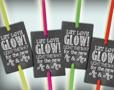 Glow Stick Tags Chalkboard Printable Glow Stick Send Off Tags PDF DIY Instant Download Let Love Glow Rustic Shabby Chic Woodland Glow Stick Wedding by justforkeeps