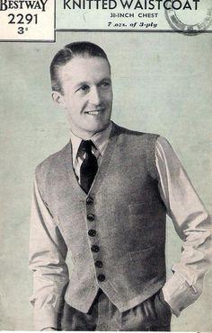 Vintage Knitting Pattern 1940s Bestway 2291 Man s Waistcoat 38 3 Ply