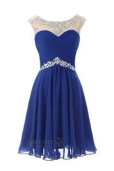 Sexy Royal blue Chiffon Short  Cocktail Dress / Prom Dress/  Homecoming Dress Am246
