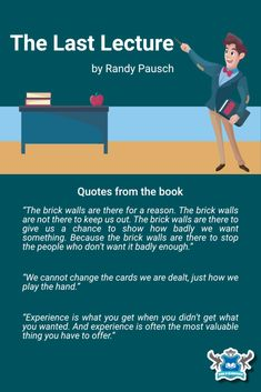 Book recommendation by the School of Meaningfulness. Randy Pausch Quotes, The Last Lecture, Book Recommendations, Leadership, How To Apply, Learning, School, Books, Life