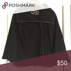 Black Wool Cape w/ Leather Trim Black Wool Cape w/ Leather Trim Small  Beautiful, classic piece.  Never worn Jackets & Coats Capes